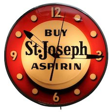 "1950s ""Buy St. Joseph Aspirin"" Working Advertising Clock"
