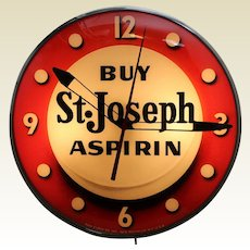 "1950s ""Buy St. Joseph Aspirin"" Working Advertising Clock"