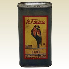 1930's G.F. Foster's 'Parrot Brand' Sage Spice Container
