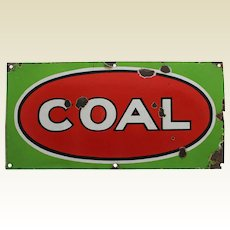 """Rare Early 1900's Embossed Porcelain """"COAL"""" Sign"""