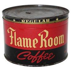 """1925-1943 """"Flame Room"""" 1 lb. Key Wind Coffee Tin"""
