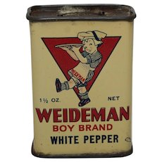 1920's 'Weideman Boy Brand' White Pepper Litho Spice Tin