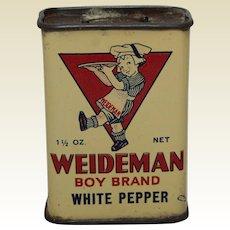 1920's 'Weideman Boy Brand' White Pepper Litho Spice Tin