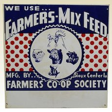 """1940'S, 50's Iowa """"We Use....Farmers-Mix Feed"""" Metal Advertising 12"""" Sign"""