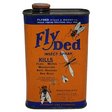 "1940's 16 oz. Litho Can of ""Fly Ded Insect Spray"""