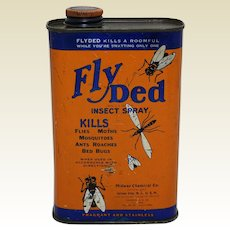 """1940's 16 oz. Litho Can of """"Fly Ded Insect Spray"""""""