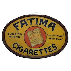 "Very Rare, Early 1900's ""Fatima Cigarettes"" Oval Tin Sign"