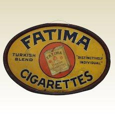 "Very Rare, Turn of the Century ""Fatima Cigarettes"" Oval Tin Sign"