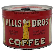 """1940's 'Unopened '""""Hills Bros."""" Litho Key Wind 1 lb. Coffee Can"""