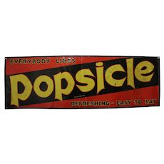 "Circa: 1940-1955 Larger 35 1/2"" x 11 3/4""  Embossed Metal Popsicle Sign"