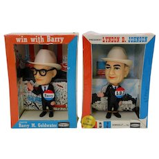 1964 'Goldwater' & 'LBJ' Political Dashboard Dolls in Original Boxes.