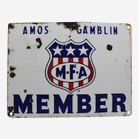 "1940'S  M.F.A. Member ""Amos Gamblin"" Porcelain Sign"