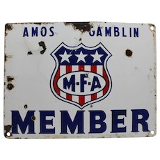 "1940'S  M.F.A. Member ""Amos Gamblin"" Porcelain Sign"