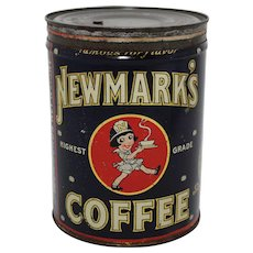 Rare 1926-1927 'Newmark's Coffee' Large 2 lb. Litho Coffee Tin