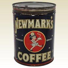 Rare 1926-1927 'Newmark's Coffee' Large 2 lb. Litho Coffee Tin