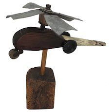 1940's Early 50's Primitive Folk Art Wooden/Metal Helicopter