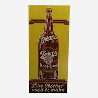 """1940's, 50's Embossed """"Tower Root Beer"""" 19"""" Metal Advertising Sign"""