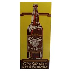 "1940's, 50's Embossed ""Tower Root Beer"" 19"" Metal Advertising Sign"