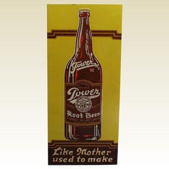 "1920's Early 30's Embossed ""Tower Root Beer"" 19"" Metal Advertising Sign"