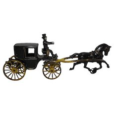 "Circa:1906 Hubley Single Horse All Original 15 1/2"" Landaulet"
