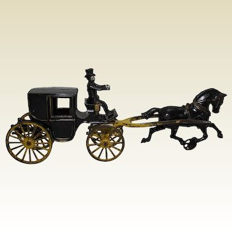 "Circa:1906 Hubley Single Horse All Original 15 1/2"" Landaulet"