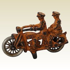 """Scarce Early 1930's  4"""" Hubley """"PDH"""" Tandem Police Motorcycle"""