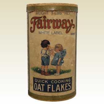 1920-1940 'Fairway Oat Flakes' Large 3 lb. Cardboard Container