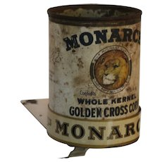 1920-1928 Monarch Metal Shelf Holder with Old Monarch Vegetable Can