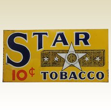 """1930's  """"Star"""" Tobacco 23 1/2"""" Litho Embossed Metal Sign"""