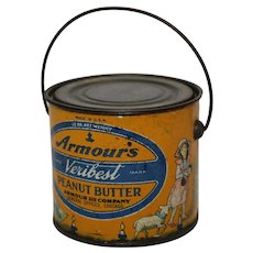 1930's Armour's 12 oz. Litho Tin Veribest Peanut Butter Pail