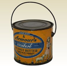1930's Armour's 12 oz. Litho Tin Veribest Peanut Butter Pail