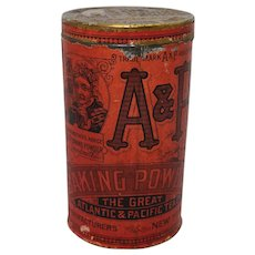 Rare Early 1900's 2 lb. A&P Baking Powder Tin