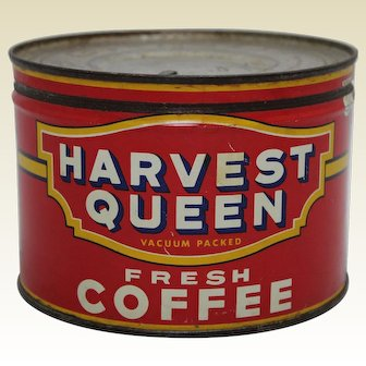 1950s 'Harvest Queen' Red Owl Stores 1 lb. Litho Key Wind  Coffee Can