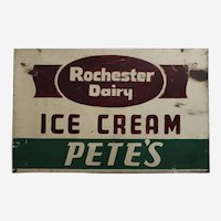 "1930's to 1950's  'Rochester Dairy Ice Cream'  Two Sided 26"" Heavy Metal Sign"