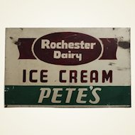 """1930's to 1950's  'Rochester Dairy Ice Cream'  Two Sided 26"""" Heavy Metal Sign"""