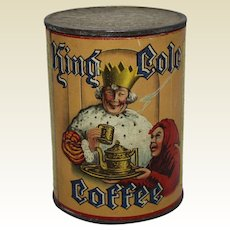 "1910-1930 'King Cole Coffee"" New Brunswick Canada Litho Coffee Tin"