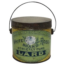 "Rare Early 1900's ""White Rose Brand"" Litho Tin Lard Pail"