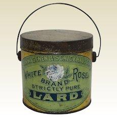 "Rare Early 1900's ""White Rose Brand"" Litho Tin Lard Pail"