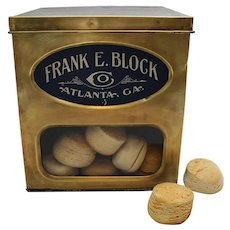 "Early 1900's ""Frank E. Block Co."" Store Counter Display Box with Faux Biscuits."