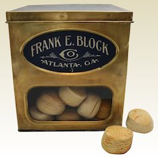 """Early 1900's """"Frank E. Block Co."""" Store Counter Display Box with Faux Biscuits."""