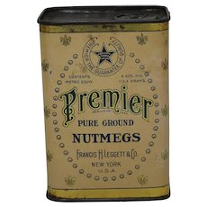 1930's 'Premier' Nutmeg Litho Spice Tin