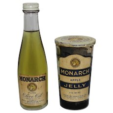 Rare 1920'S 30'S  'Monarch' Jar of Apple Jelly & 'Monarch' Bottle of Pure Olive Oil