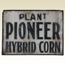 """1940's, 50's """"Plant Pioneer Hybrid Corn"""" 23 3/4"""" Embossed Metal Sign"""