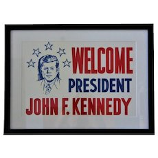 "1960-1963 ""Welcome President John F. Kennedy"" Clear Vinyl Political Sign"