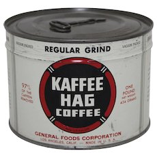 1940's Unopened 'Kaffee Hag'  Key Wind Litho Coffee Tin