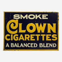 """1920's, 30's """"Clown Cigarettes"""" Embossed Metal Sign"""