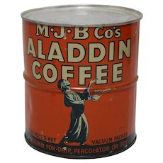 1920', early 30's Unopened 'Aladdin Coffee' Litho Tin