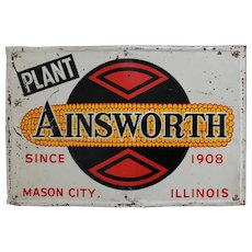 "1940's, 50's Ainsworth Seed  Company  24"" Embossed  Metal Sign"