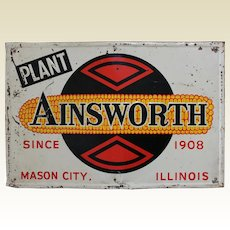 """1940's, 50's Ainsworth Seed  Company  24"""" Embossed  Metal Sign"""