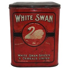Early 1900's White Swan Spices & Cereals Large Litho Tin
